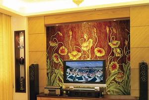 别墅唯美型艺术玻璃背景墙效果图