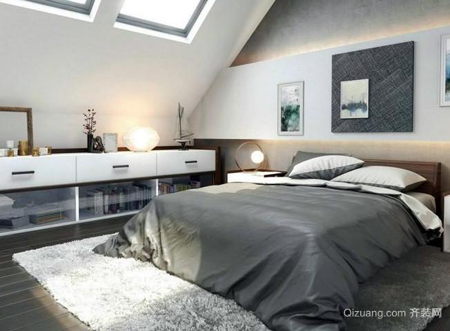 30平米斜顶阁楼现代简约风格卧室装修效果图