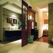 中式风格卫生间原木隔断装饰
