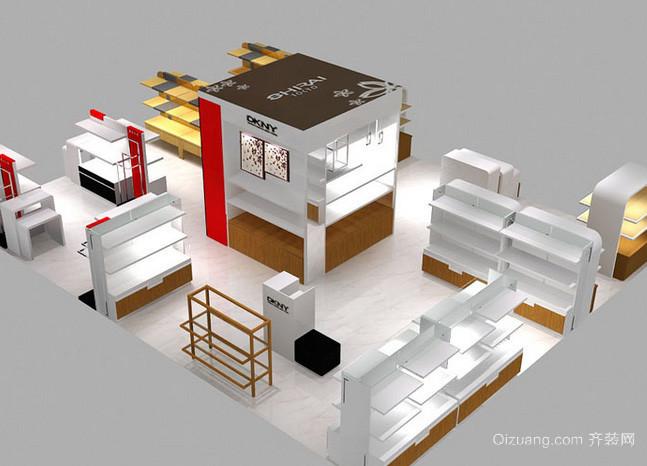 70平米现代简约风格化妆品展示柜台装修效果图