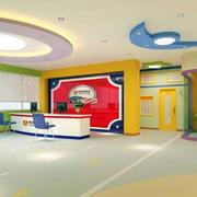 简约彩色幼儿园学校前台装修设计效果图