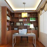 书房浅色原木书柜装饰