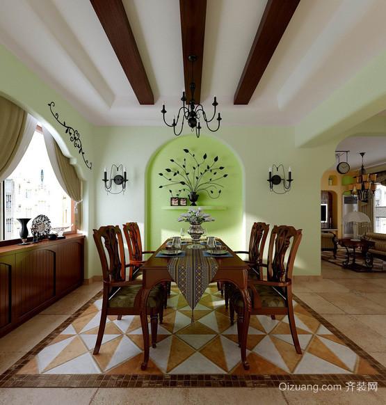 美式田园风格130平米家居餐厅装修图片