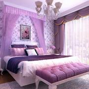 紫粉色系卧室床饰设计