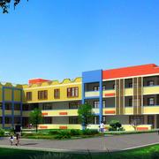 大型幼儿园现代简约风格整栋教学楼装修效果图
