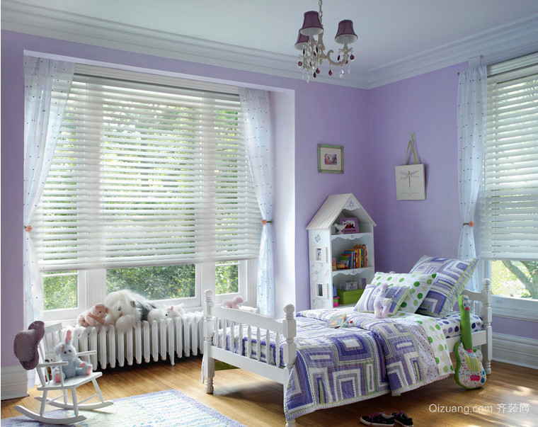 紫色简欧风格儿童房软百叶窗帘效果图