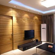 简约酒店式公寓客厅木纹电视背景贴图