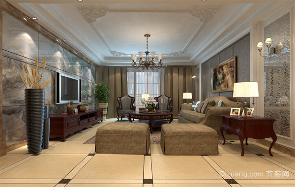别墅简约风格客厅吊顶装修效果图