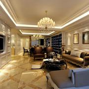 简欧式奢华189平米客厅瓷砖贴图欣赏