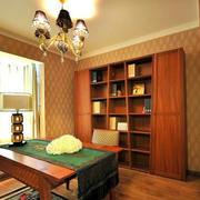 美式简约风格小户型深色系书房装饰