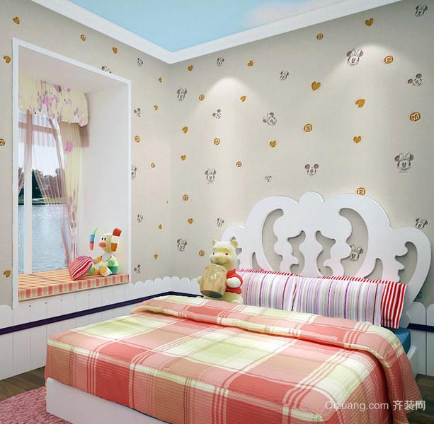 现代17平米小女生卧室卡通壁纸图片大全