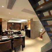 居民楼现代简约风格原木桌椅装饰