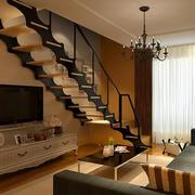 现代简约风格家庭客厅楼梯装饰