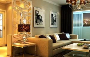 暖色系客厅沙发背景墙装饰