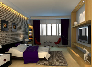 128平米田园风格卧室装修效果图
