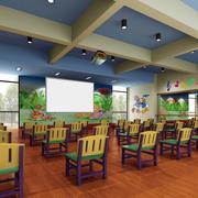 大型现代简约风格幼儿园教室装修效果图
