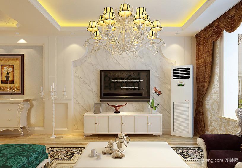 104平米简欧风格客厅电视背景墙瓷砖贴图
