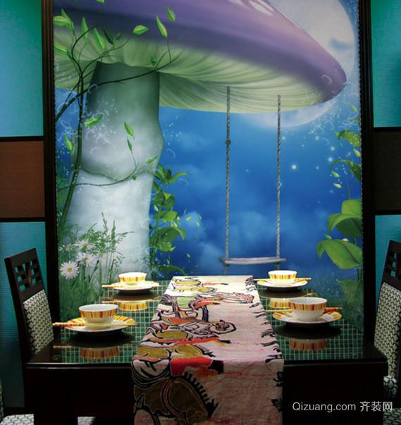 浪漫时尚家居小餐厅卡通壁纸图片大全