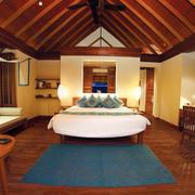 现代美式风格复式楼大卧室实木材质贴图