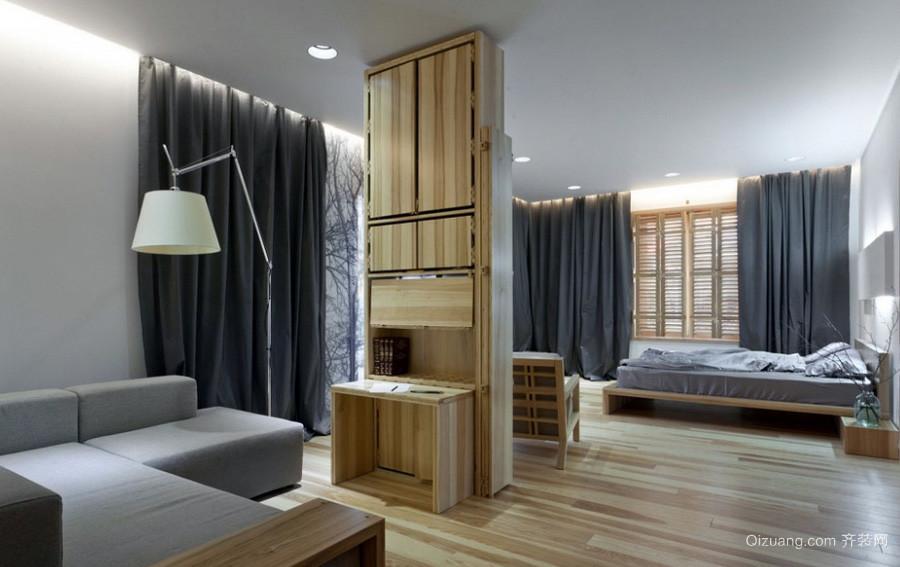 50平米简约单身小公寓木纹贴图欣赏