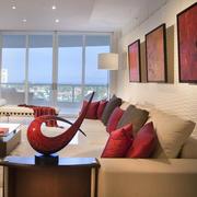现代简约风格复式楼沙发背景墙