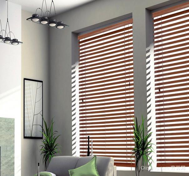 72平米家居客厅竹木百叶窗帘效果图