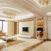 优雅简欧230平米家居客厅瓷砖贴图展示