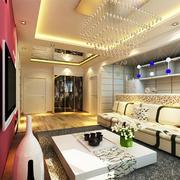 客厅现代吊顶三居室装修