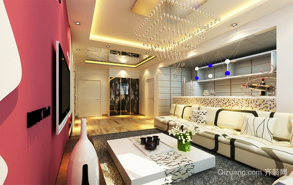 三居室创意客厅吊顶装修效果图