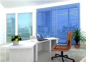 现代时尚办公室蓝色百叶窗帘效果图