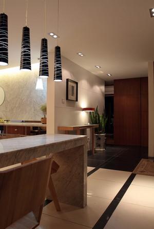 120平米复式楼现代简约风格客厅吧台效果图