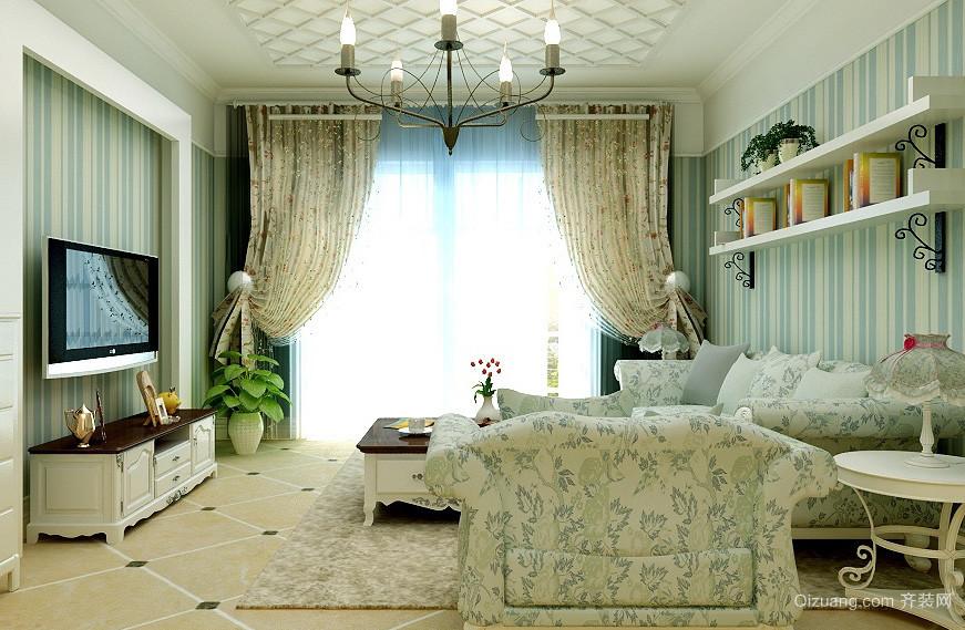 67平米田园风格公寓小客厅装修图片