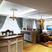 韩式风格复式楼客厅吧台装修效果图