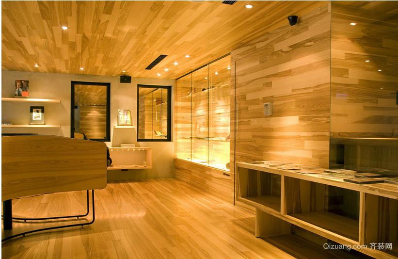 56平米小型服装店木纹装修效果贴图