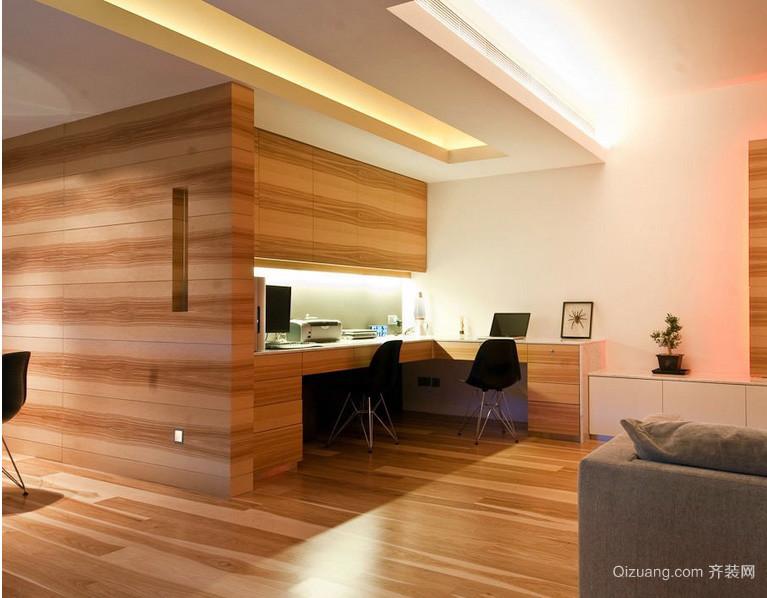 205平米现代两室两厅书房木纹贴图欣赏