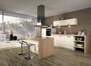 简约大气小别墅开放式厨房木纹贴图展示