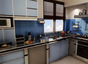 90平米现代欧式大户型唯美的厨房装修效果图