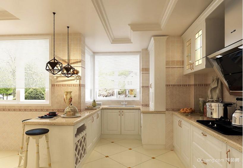 简欧风格三室一厅厨房吧台瓷砖贴图展示