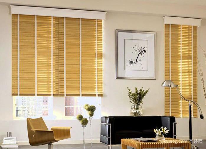 都市单身公寓客厅原木色百叶窗帘效果图