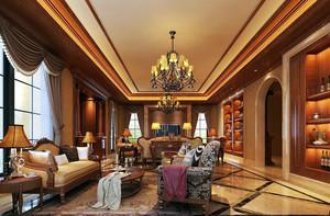2016奢华大别墅美式风格客厅装修样板房