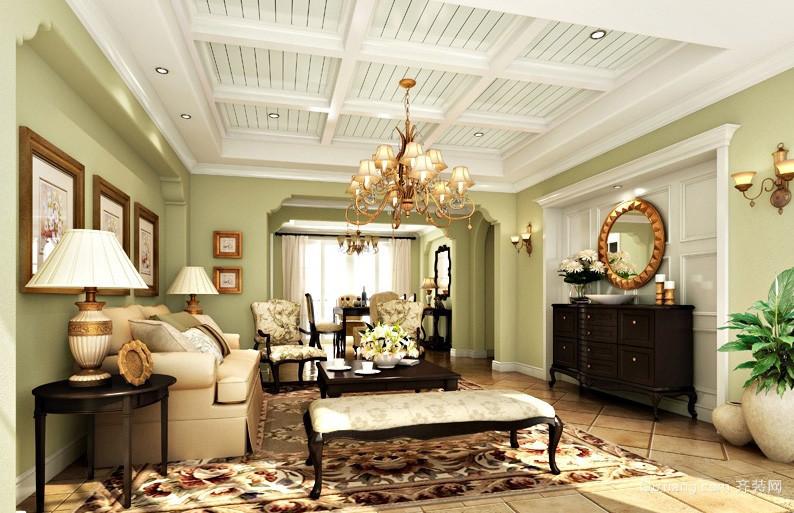 清新美式田园143平米客厅装修样板房