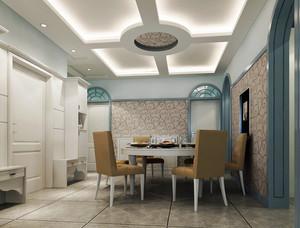 复式楼现代简约风格餐厅石膏板集成吊顶装修效果图