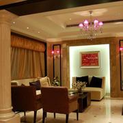 欧式豪宅暖色系客厅灯饰装饰