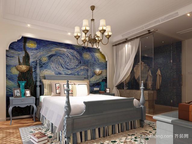 复式楼清新地中海风格卧室装修效果图