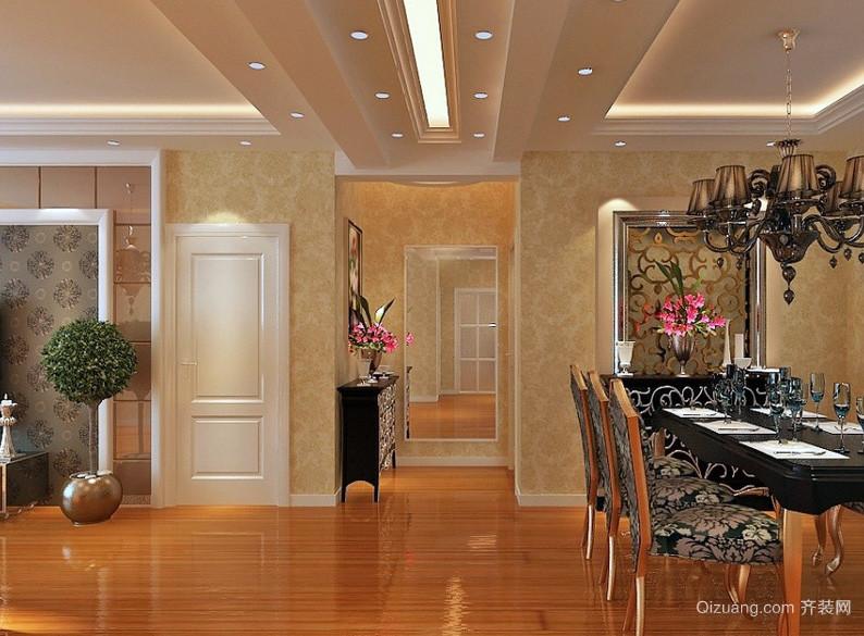 欧式三居室走廊吊顶装修设计效果图
