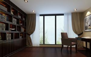 2016新中式别墅书房装修设计效果图