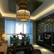 古典中式别墅客厅室内装修设计效果图