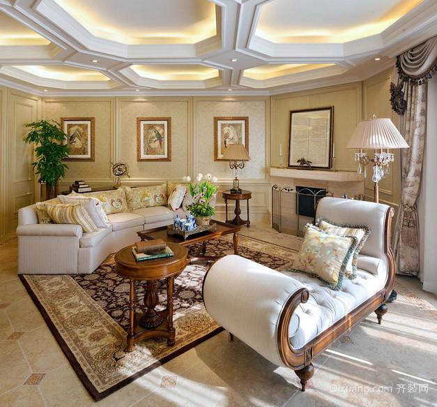 美式现代别墅客厅吊顶装修设计效果图