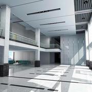 大型现代简约风格办公楼大厅窗户装饰