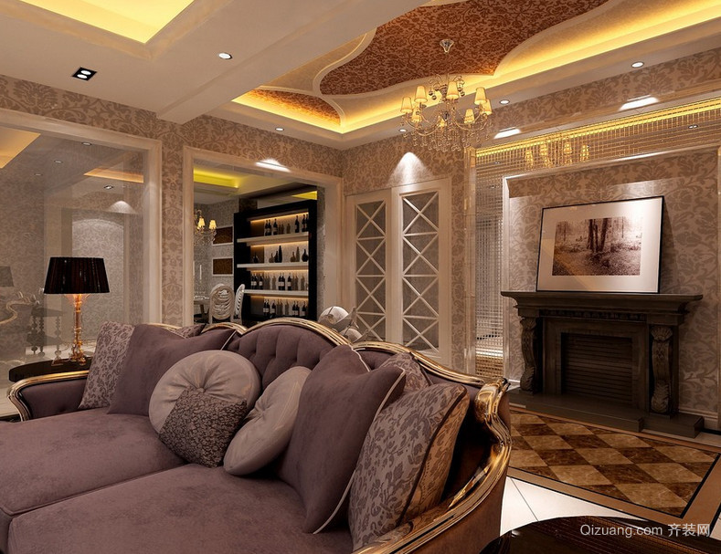 唯美的现代大户型欧式家装客厅装修效果图欣赏